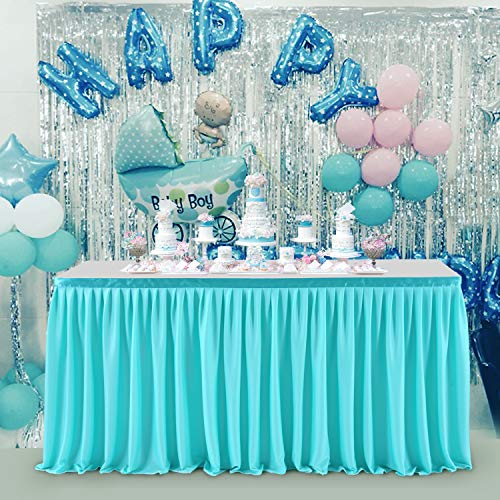 HBBMAGIC Falda de mesa de poliéster azul para fiestas, decoración para bodas, cumpleaños, Candy Bar, Navidad, 427 x 76 cm