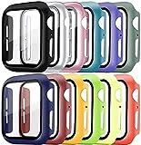 Pocoukate [12 Pezzi] Cover con Vetro Temperato adatto per Apple Watch 44mm Serie 6/5/4/SE, Pellicola Protezione Apple Watch 44mm, Rigida+HD+Bubble-Free Copertura Completa Schermo Protezione