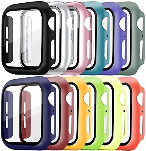 Pocoukate [12 Pezzi] Cover con Vetro Temperato adatto per Apple Watch 40mm Serie 6/5/4/SE, Pellicola Protezione Apple Watch 40mm, Rigida+HD+Bubble-Free Copertura Completa Schermo Protezione
