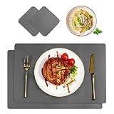 CHONLY Tischset PU Kunstleder 2er Sets Abwischbar Wasserdicht Platzset Lederoptik Hitzebeständig Tischmatt PU Leder 42x30cm und Glasuntersetzer für Hause Küche Restaurant und Hotel Dunkelgrau