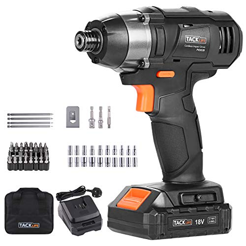 18V Impact Driver Cordless, 2.0Ah 180Nm Impact Screwdriver Cordless with 60PCS, 2800RPM Max Speed and 3600 Impact Rate, 1/4' Hex Chuck Hammer Drill-TACKLIFE PID02B