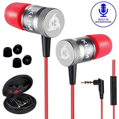 KLIM™ Fusion - Auriculares con micrófono para móvil + Garantía 5 años + Innovadora Espuma de Memoria + Jack 3,5 mm + Compatibles con Smartphone, Tablet, Consola, PC - Nueva Versión 2020 - Rojo