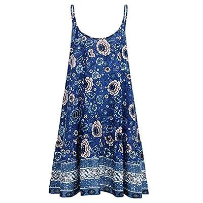 pitashe Women's Sleeveless Casaul Dress Summer Floral Printed Spaghetti Strap V Neck Dress Ruffles A line Tunic Swing Beach Dress Holiday Mini Sun Dress