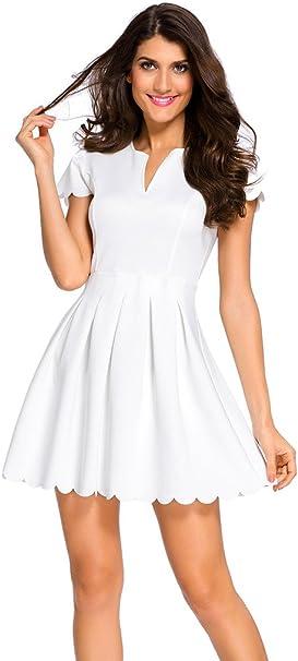 Damen Kleider Sommer Kurz Skaterkleid A Linie Partykleid Weiss Gr36 S Amazon De Bekleidung