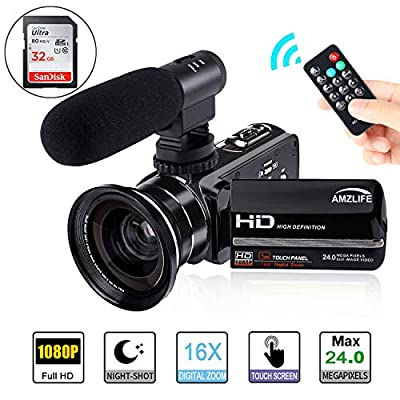 Video Camera Camcorder AMZLIFE 1080P HD with Microphone and Wide Angle Lens IR Night Vision LCD Touch Screen Remote Controller 16X Digital Zoom YouTube Vlogging Camera Recorder?Included 32 G SD Card? by AMZLIFE