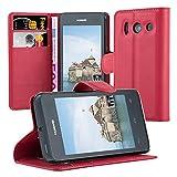Cadorabo Hülle für Huawei Ascend Y300 - Hülle in Karmin ROT – Handyhülle mit Kartenfach & Standfunktion - Case Cover Schutzhülle Etui Tasche Book Klapp Style