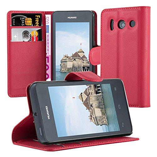 Cadorabo Hülle für Huawei Ascend Y300 - Hülle in Karmin ROT – Handyhülle mit Kartenfach und Standfunktion - Case Cover Schutzhülle Etui Tasche Book Klapp Style