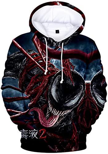 EMLAI Herren Kapuzenpullover 3D Druck Hoodie Venom Motiv mit Fleece (S, Venom 2-85)