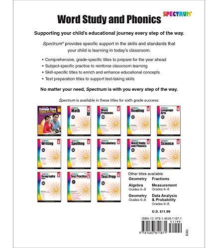 Spectrum Word Study and Phonics Workbook—Grade 6 Root Words, Analogies, Acronyms, Digraphs, Vocabulary Builder, Classroom or Homeschool Curriculum (168 pgs)