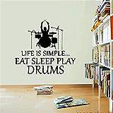 Decoración Del Hogar Musical Instrument Wall Sticker Removable Vinyl Drum Set Drummer Wall Sticker Bar Art Wall Sticker 58X64Cm Pegatinas De Pared Bebe