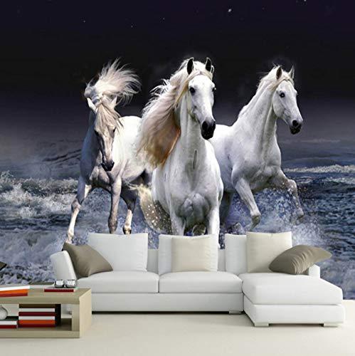 Cczxfcc foto behang 3D wit paard Spray spatten landschap woonkamer slaapkamer klassieke huisdecoratie behang voor muren 3D 350 cm.