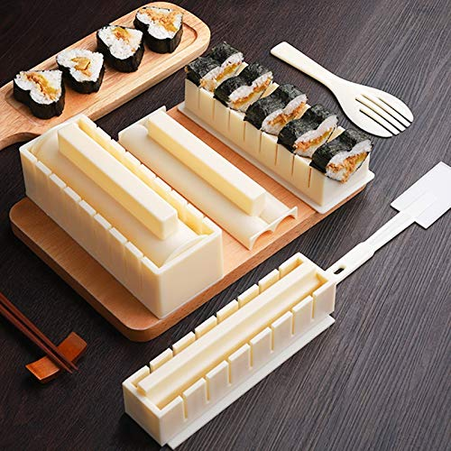 QFWN 10pcs/Set Easy To Use DIY Rice Ball Sushi Maker Mold Kitchen Sushi Making Tool Set for Sushi Roll Kitchen Accessory Cooking Tool