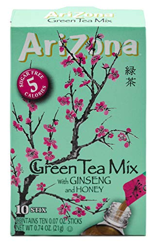 AriZona Green Tea with Ginseng Iced Tea Stix Sugar-Free, Low Calorie Single Serving Drink Powder Packets, Just Add Water for a Deliciously Refreshing Iced Tea Beverage, 10 Count, Pack of 6