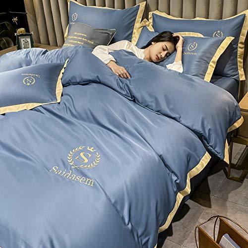 Traje de cuatro piezas de seda de doble cara lavado nórdico, arruga, fundido, hoja plana resistente a las manchas, fundas de almohadas, adecuado para apartamentos familiares familiares-Di_Cama de 2.0