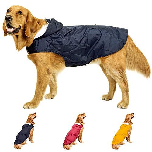 YIEPAL Dog Raincoat with Hood Waterproof Dog Rain Jacket Adjustable Lightweight Breathable Reflective Rain Poncho Slicker Coat for Small Dog, Navy Blue, 3XL
