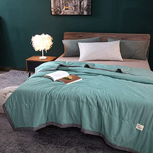 YUTRD ZCJUX Lavé de Coton Summer Air Condition Coipatrice Couverture Mince Simple Couverture Adulte Patchwork Patchwork Plaid Confort Compotteur Couvre-lit (Color : Green, Size : 200X230CM)