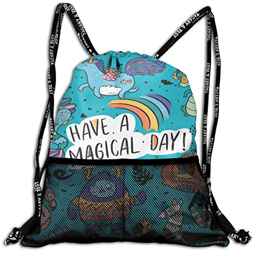 Drawstring Backpack Cooler Backpacks Front Zipper Mesh Bag For Women Men Travel Fitness Fantasy Yeti Unicorn Dragon Mermaid Llama Cartoon Style Personalized