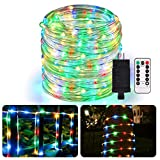 ALOVECO Rope Lights Outdoor, 49ft 150 LED String Lights Plug in Connectable Remote Dimmable Waterproof Indoor Outdoor String Lights for Christmas Party/Tree/Patio/Garden/Deck/Fence Decor-Multicolor