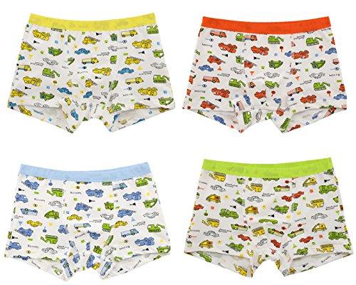 Sivice 4 Stück Baumwolle Jungen Kinder Unterhosen Boxershorts Kleinkinder Unterwäsche Autos und Bagger Muster 8-9 Jahre alt Kinder