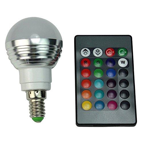 SODIAL(R) LED Gluehbirne + Fernbedienung Farbwechsel Leuchte, E14 3W RGB LED-Lampe Bulb, LED-Gluehbirne mit Magie Wireless Remote Control