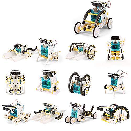 Adaskala 13 en 1 Robot solar DIY Inteligencia infantil Juguete solar Juego de juguete solar hecho a mano STEM Ciencia Juguete Bloque de construcción de energía solar Rompecabezas