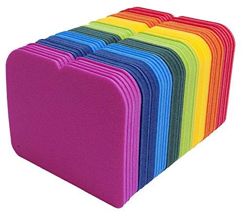 Set 32 Stück Schaumstoff Sitzkissen Kinder Sitzunterlage WASSERDICHT 24cm x 19cm, Regenbogenfarben für Kindergarten Morgenkreis Schulen ideal für Kinderrucksack