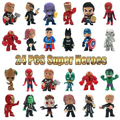 MOYEE Action Figures, Anime Figures, 24 PCS Super Hero Adventures Play Set - Mini PVC Web Warriors Figures Toys Dolls for Kids Ages 3 and Up, Christmas, Birthday Gift & Home, Car, Decoration