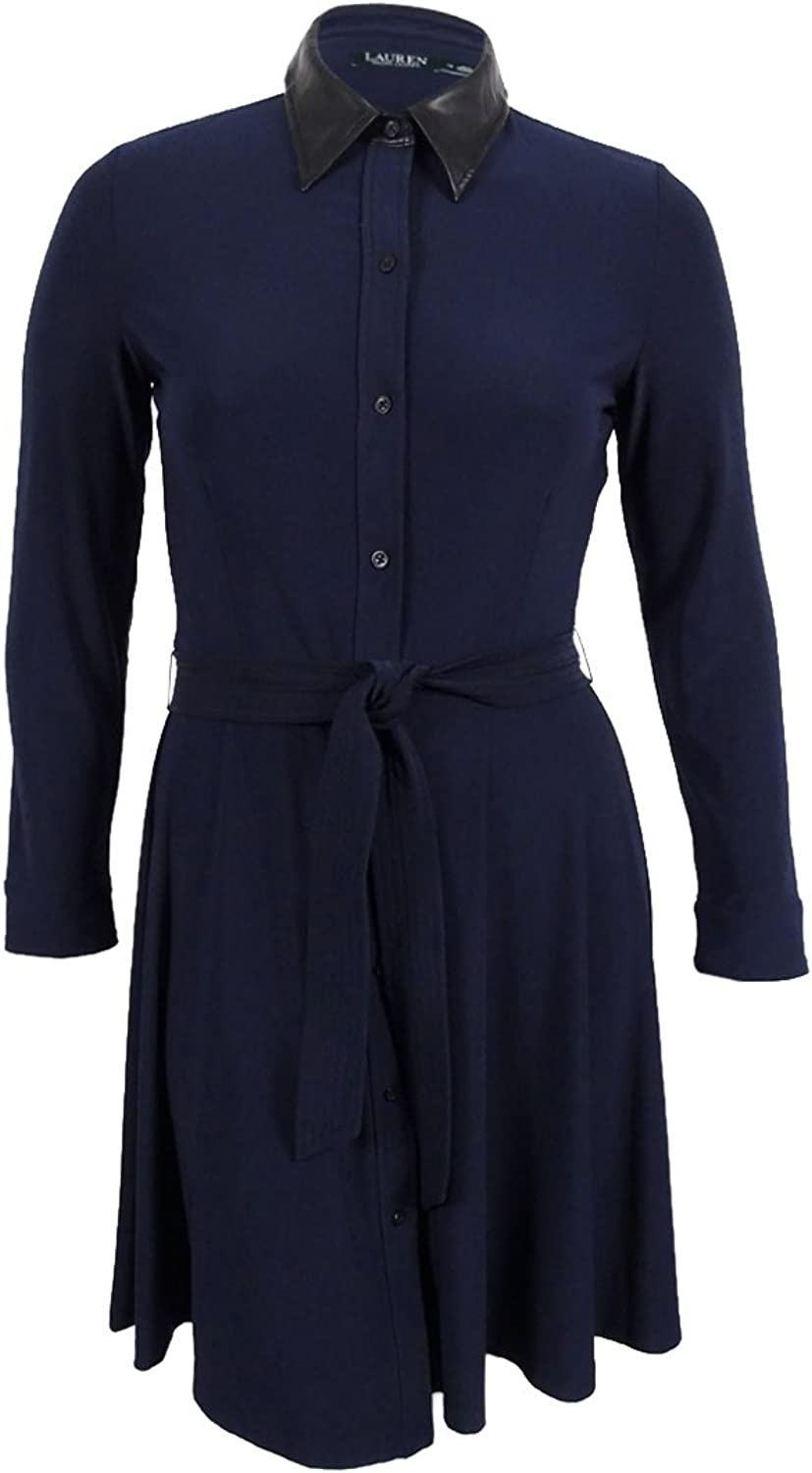Ralph Lauren Womens Belted Shirt Dress Lthsenvy 18W  Plus Size