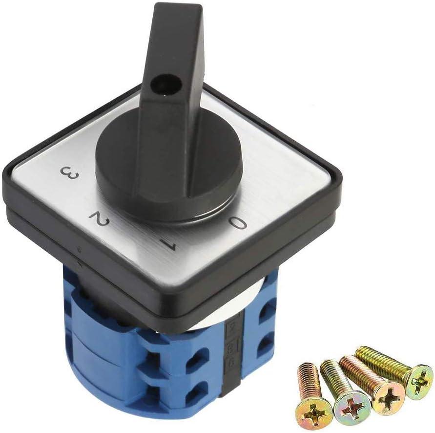 Gobesty Interruptor giratorio 4 posiciones 660V 20A, Interruptor de leva giratoria de 4 polos y 2 polos, Interruptor selector rotativo, Interruptor de cambio de leva giratoria universal