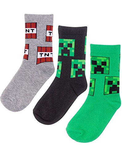 Vanilla Underground Minecraft Creeper Face Assorted 3 Pack Grey Green Black Boy's Kids Socks