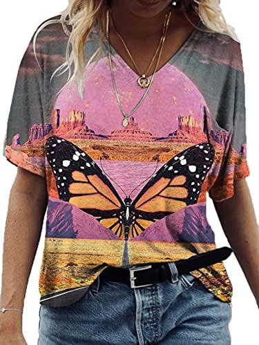 Wsgyj52hua 2021 Estilo Europeo Y Americano Pintura De Paisaje De Verano ImpresióN con Cuello En V Camiseta De Manga Corta Ropa De Mujer