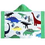 Baogaier Asciugamano con Cappuccio Bambini Telo Mare da Bagno Dinosauro per Ragazzi Ragazze Cotone Morbido Verde Coperta da Spiaggia Grande Morbida Assorbente per Nuoto Surf Escursionismo Sport