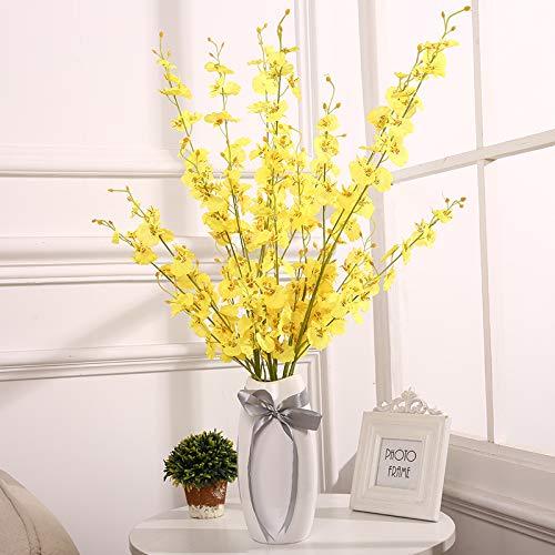 Dansende Orchidee Simulatie Nep Bloem Set Europese Droog Boeket Woonkamer Eettafel TV Kast Versierd met Orchidee Orchidee Dansende Orchidee 6 takken en hoge 25 cm ganzenei vaas