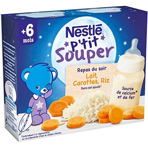 Nestlé Bébé P'tit Souper Carottes Riz - Soupe du soir dès 4/6 mois - 2 x 250ml - Pack de 6 boites ( 12 soupes )