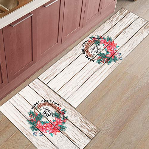 Kitchen Rugs 2 Piece Christmas Garland Flower Pine Branch Red Robins Wood Grain Washable Microfiber Kitchen Mats and Rugs Runner Floor Carpet with Non-Slip Backing Bath Rug Doormat for Porch