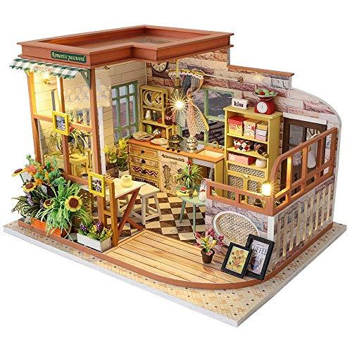 Puppenhaus Puppenhaus Möbel Miniaturpuppenhaus DIY Miniatur Haus Zimmer Box Theatre Toys Für Kinder Puppenhaus WANGHN (Color : -)