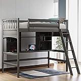 El más nuevo marco de cama tipo loft de madera con estantes de almacenamiento y escritorio debajo de la cama,...