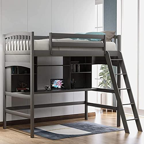 El más nuevo marco de cama tipo loft de madera con estantes de almacenamiento y escritorio debajo de la cama, barandilla de longitud completa, escalera incorporada, para niños, adolescentes, adultos