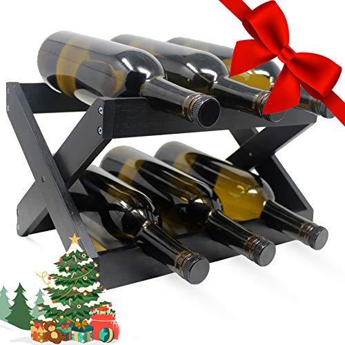 Foldable Bamboo Wine Rack ~ Counter Wooden Wine Bottle Storage ~ Elegant Wine Holder for Kitchen, Bar, Cabinets ~ Holds 6 Bottles (Black, 1)