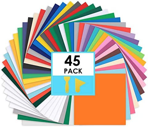 CONERX Permanent Adhesive Vinyl Sheets 12 x 12 45 Sheets Assorted Colors Matte and Glossy Includes product image