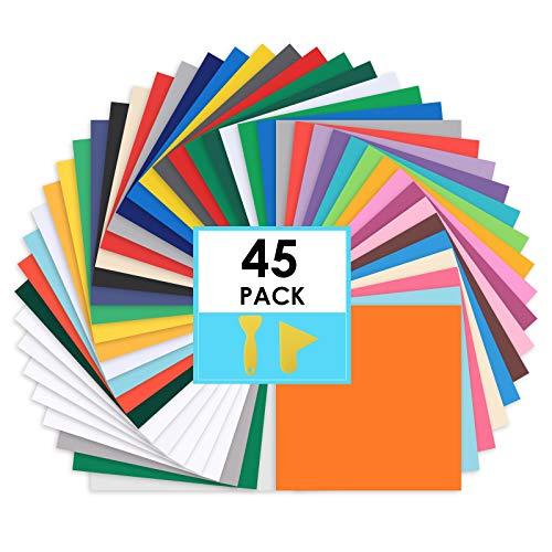 "CONERX Permanent Adhesive Vinyl Sheets - 12""x 12"" - 45 Sheets Assorted..."