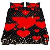 Eslifey - Juego de funda de edredón de 3 piezas, diseño de corazones rojos, para el día de San Valentín, color rojo, Tejido químico., Varios Colores, Full 79 x 91 \19 x 29 in