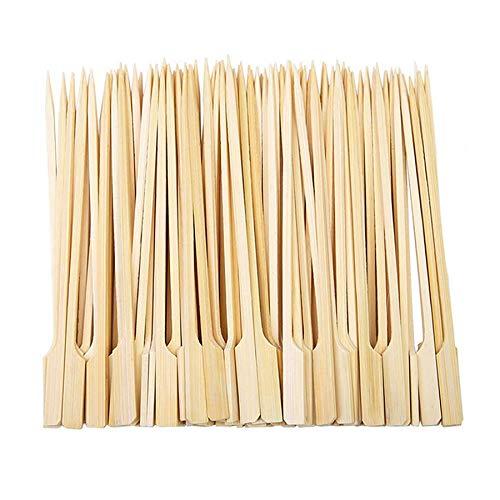 Ruesious Brochetas de bambú de (400 Unidades) 18 cm, De Bambú Natural – Puntiaguda por una Cara, Aspecto Planas para Comida, para Fiestas/Barbacoa Fija