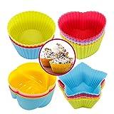 Xinzistar 24 Stück Muffinform Silikon Cupcake Formen BPA Frei Wiederverwendbare Muffinförmchen Muffin Form Backförmchen Mini Muffin Förmchen Silikonbackformen