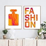 QZROOM Orange Perfume Bottle Wall Art Canvas Poster Fashion Letter Print Painting Decorative Picture Bedroom Living Room Decor -40x50cmx2 No Frame