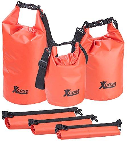 Xcase Segeltaschen: 3er-Set wasserdichte Packsäcke aus LKW-Plane, 5/10/20 Liter, rot (Drybag)