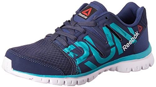 1. Reebok Men's Ultra Speed Running Shoes Blue, Teal, Metallic Silver and White