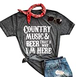 Country Music Beer That's Why I'm Here T Shirt for Women Letter Print Short Sleeve Tees Beer Music Party Casual Top Shirts Dark Grey