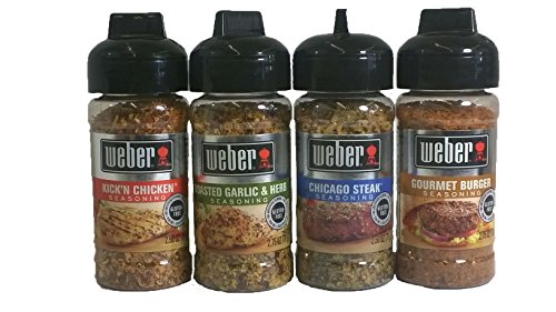 Weber Seasoning Variety 4 Flavor Pack - Kickn Chicken - Roasted Garlic & Herbs - Chicago Steak - Gourmet Burger - All Natural Shake-on Bundle