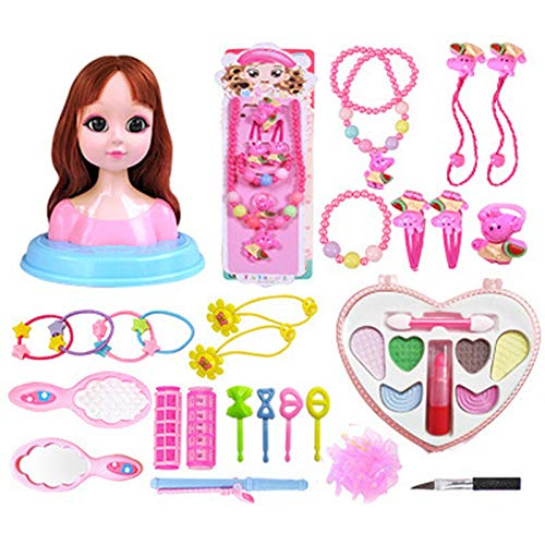 feiledi Trade Deluxe Styling Head, Puppenspielset für Mädchen Princess Styling Head, Kinder-Make-up-Puppenset mit Beauty- und Modeaccessoires